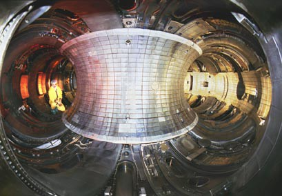 Interior of the TFTR Tokamak. Photo courtesy PPPL. (Click to view larger version...)