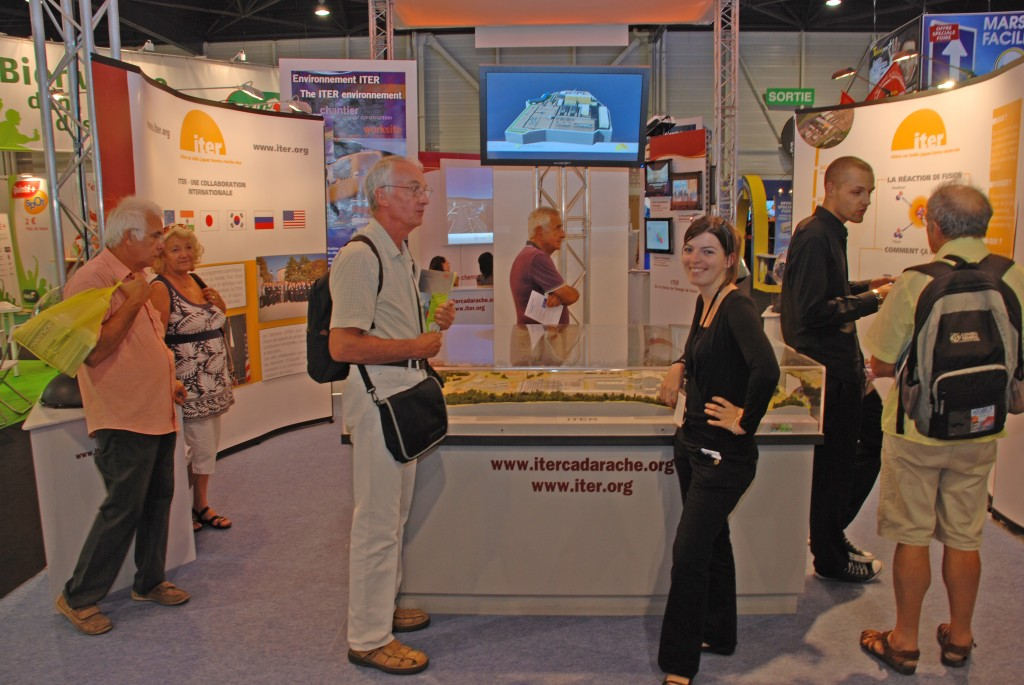 Jade Fremanger from Agence Iter France at the ITER stand this week.