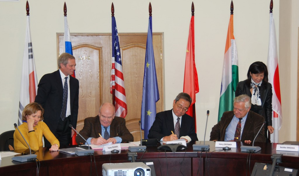 Kaname Ikeda and Evgeny Velikhov signing the Procurement Arrangement for ITER's cable-in-conduit conductor for the poloidal field coils earlier today. With this signature, all but one Procurement Arrangement for ITER's poloidal field coils have been completed.  (Click to view larger version...)