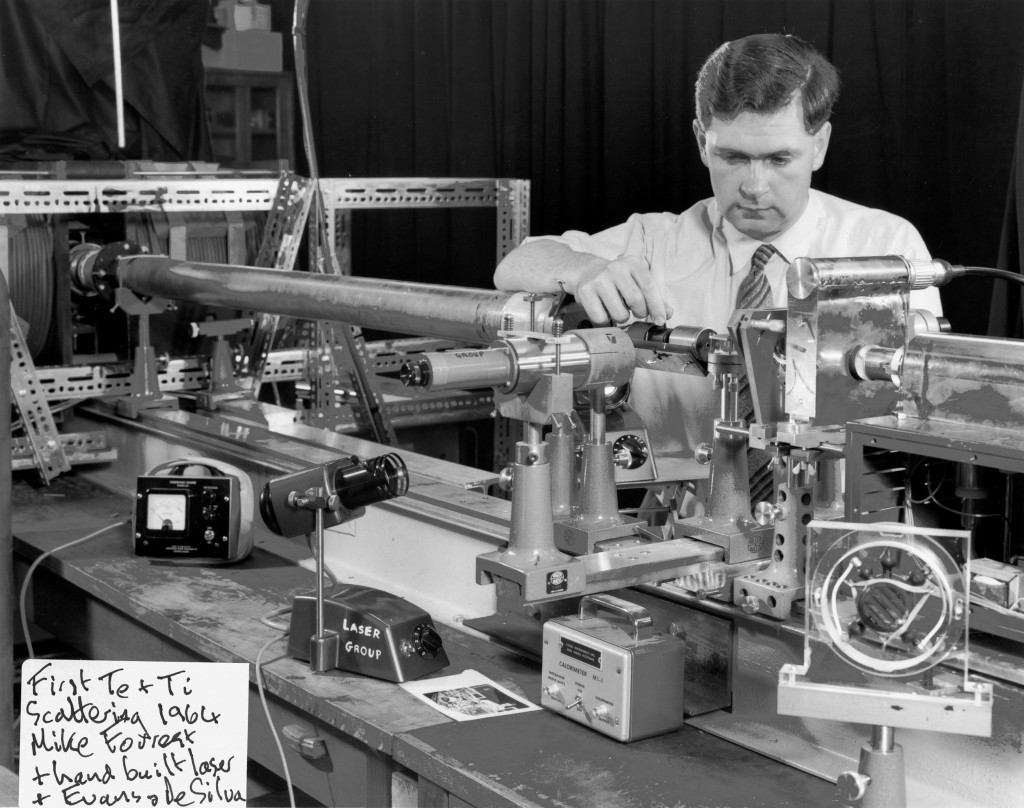 "Mike Forrest with the ""hand-built"" laser he began experimenting with in 1964. (Click to view larger version...)"