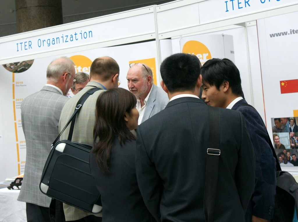 ITER Head of Communication Neil Calder is having a (magnetic) field day explaining ITER to visitors at the 21st Magnet and Technology Conference. (Click to view larger version...)