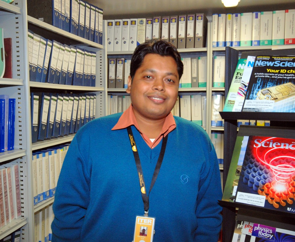 Saroj Das in the ITER Library before renovations (Building 519, Room 15)