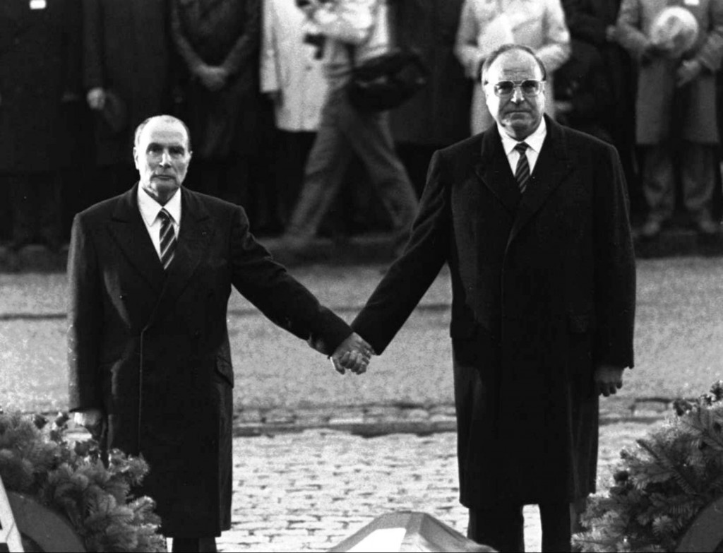 A very emotional moment at the Verdun battlefield in 1984, when President Mitterrand of France and German Chancellor Helmut Kohl stood silent and holding hands. (Click to view larger version...)