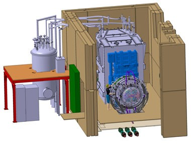 Computer Graphics: The new ion source of the IPP built-in test facility ELISE. The particle beam generated here with a cross section of one square metre is to carry a capacity of 1.2 megawatts. (Graphic: IPP) (Click to view larger version...)