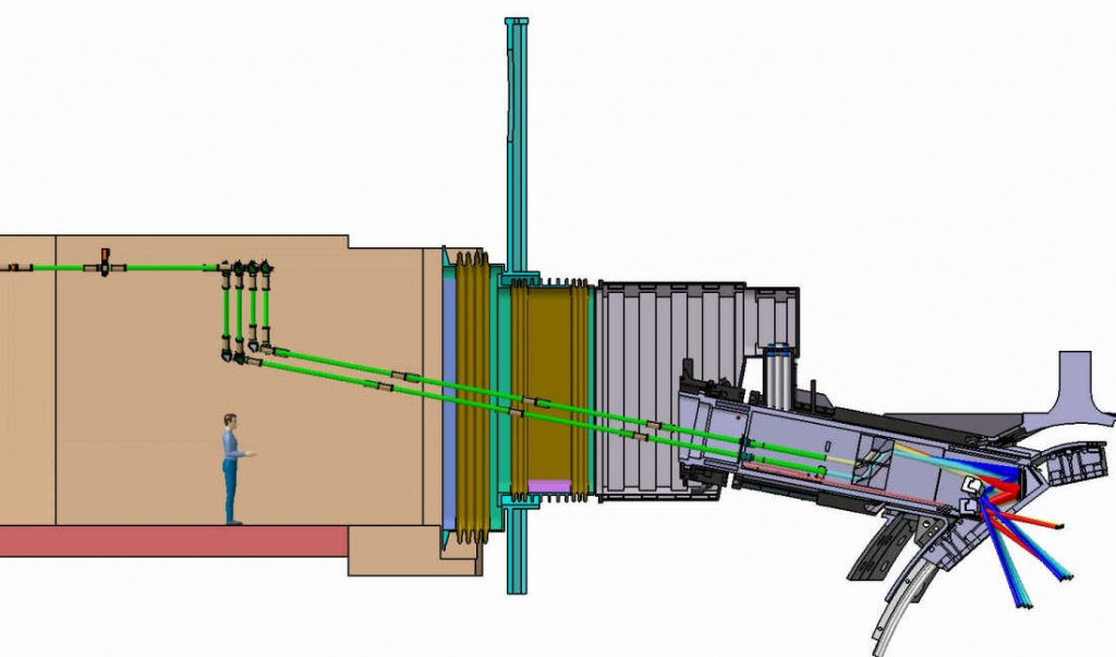 The four electron cyclotron upper launchers in ITER will beam energy into the plasma to counter the development of instabilities.  (Click to view larger version...)