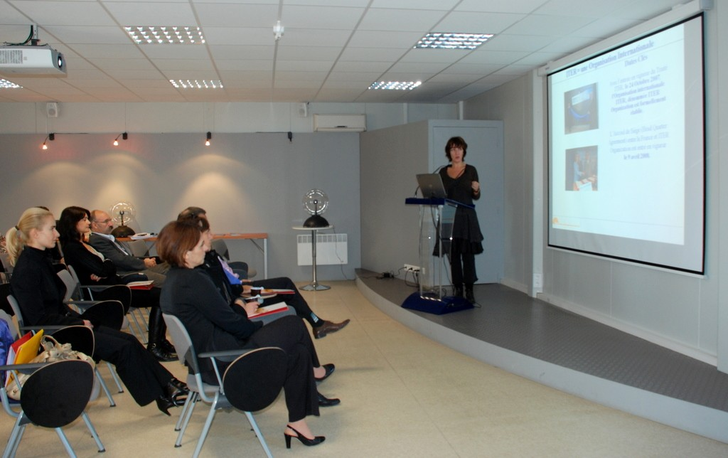 Françoise Cazenave-Pendariès is pictured giving a presentation at the ITER Visitor Centre.