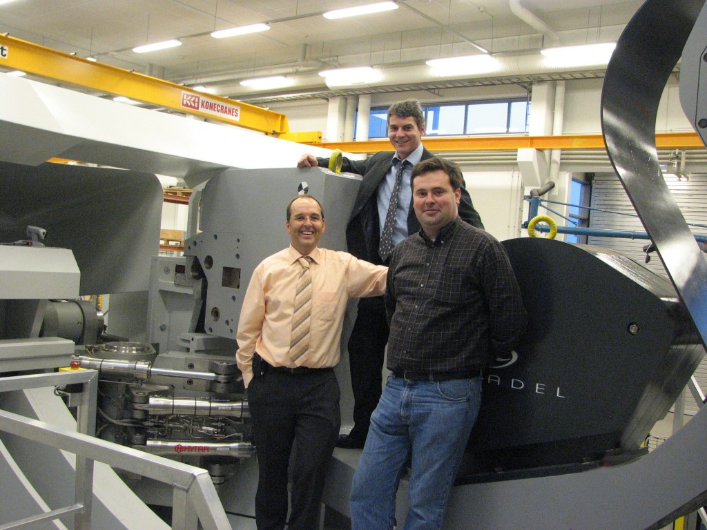 Caption: Jim Palmer and David Hamilton (Remote Handling Section) together with Alex Martin (Internal Components Division) in the divertor region of the DTP2 facility. (Click to view larger version...)