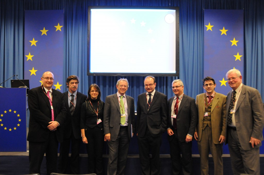 In Copenhagen this week: Roger Highfield, Quintana Trias (Director of Euratom Directorate, EC-European Commission), E. Lipiatou (Head of Unit, Directorate Environment, EC), Sir David King, Ottmar Edenhofer, Wolfram Schrimpf (Deputy Head of Unit, Directorate Environment, EC), Takis Ageladarakis (Coordinator of Euratom Communication Task Force, EC), and Jørgen Kjems. (Click to view larger version...)