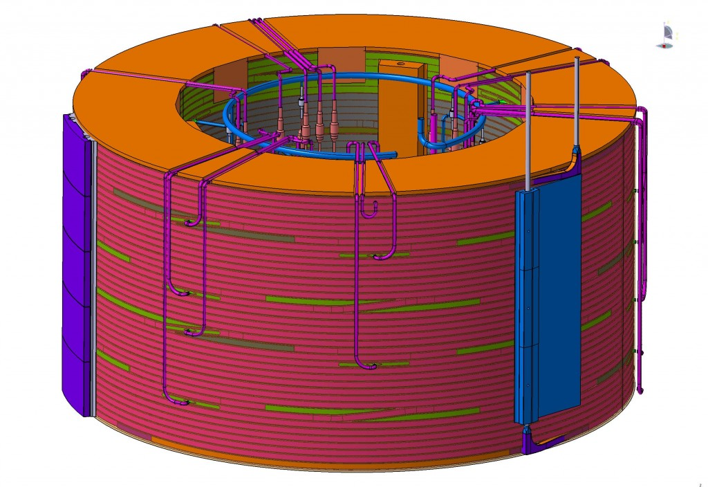 "There will be 42 kilometres of conductor in the ITER central solenoid, wound tightly in ""pancakes."" Forty pancakes form a module, and six stacked modules form the central solenoid. (Click to view larger version...)"