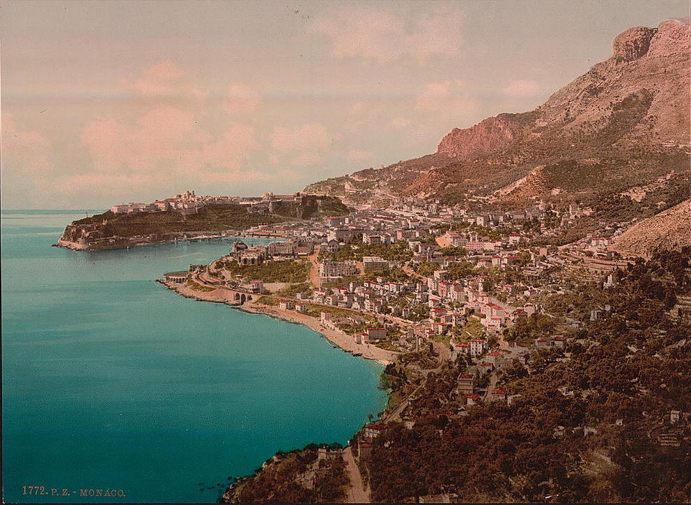 A sleepy village nested in the rocky Mediterranean coast—this was Monaco at the turn of the 20th century. (Click to view larger version...)