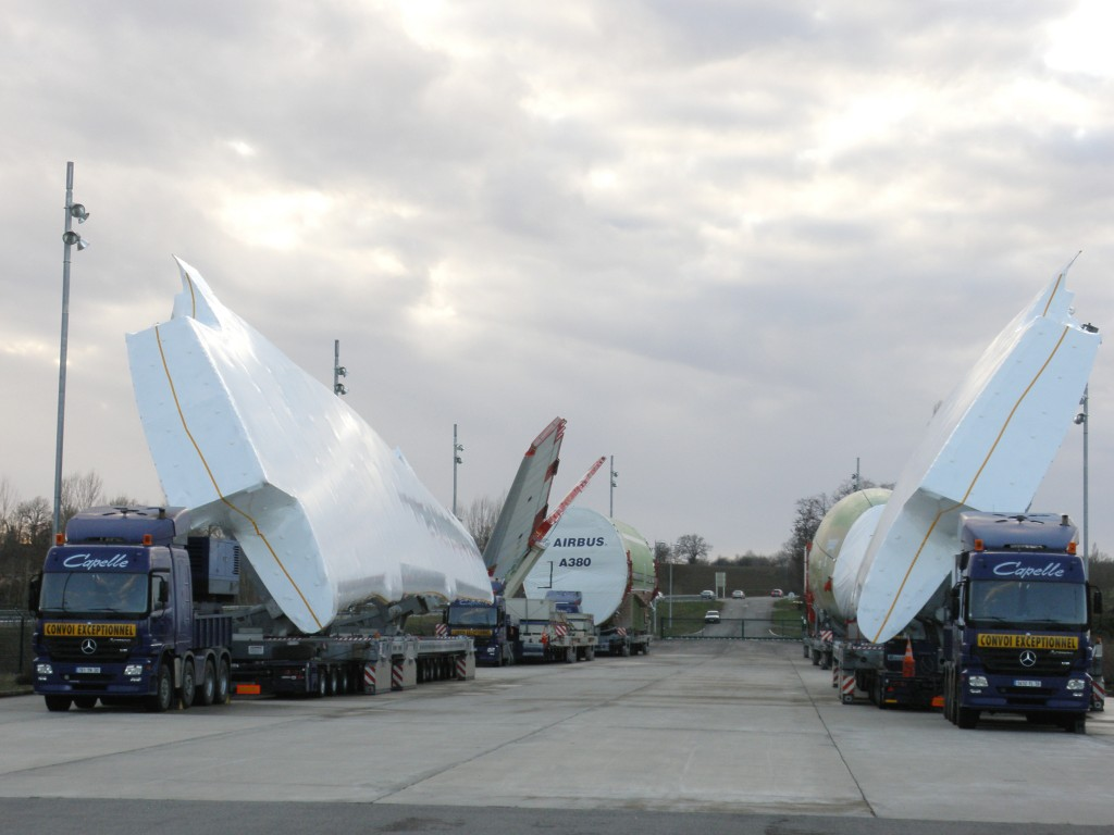 The two airplane wings, a tail wing and three parts of the A380 fuselage on their way to the Airbus assembly site in Toulouse.