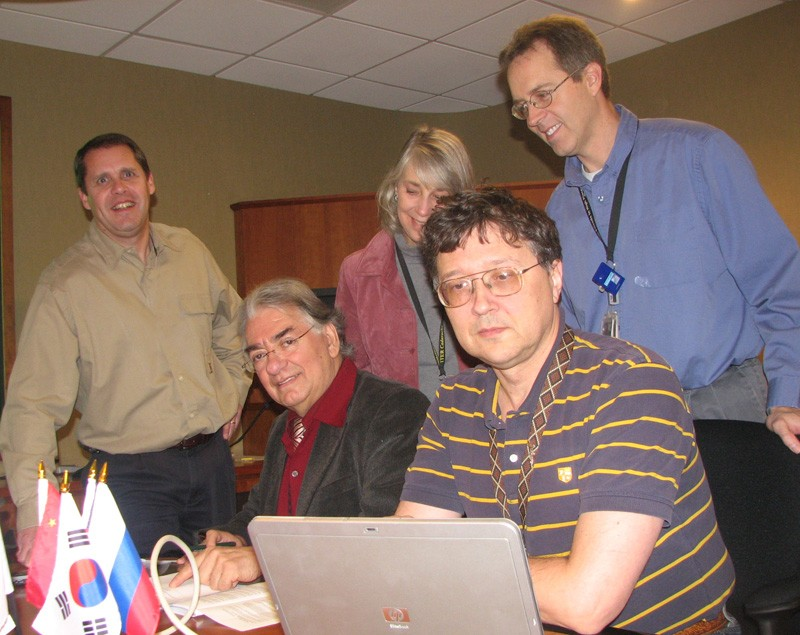 Tokamak cooling water system team members gather for a photo before a recent meeting. Seated (from left) are Juan Ferrada and Andrei Petrov. Standing are Kirby Wilcher; Jan Berry, Team Leader; and Richard Hale of Oak Ridge National Laboratory's Nuclear Science and Technology Division. (Click to view larger version...)