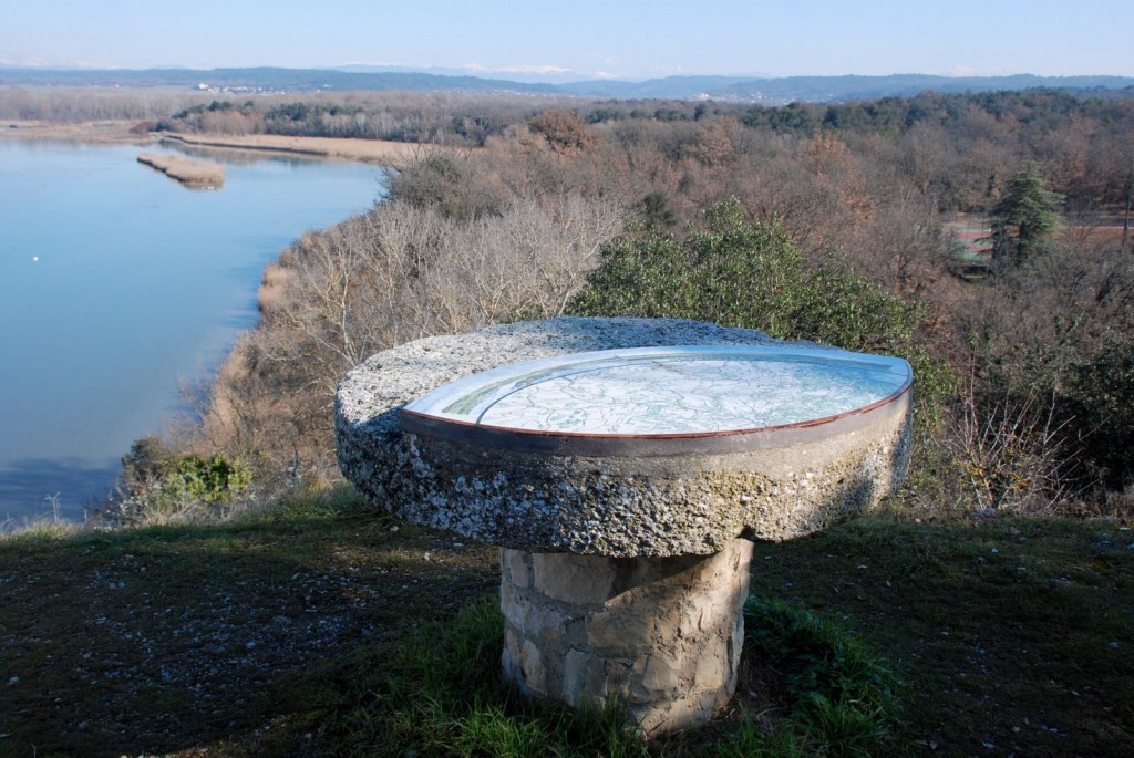 "By the Château de Cadarache, an ""orientation table"" points out the name and elevation of every mountain within sight. (Click to view larger version...)"
