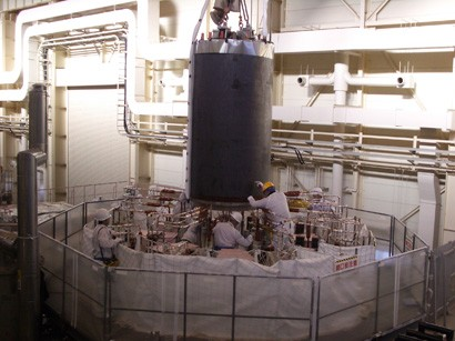 PF Insert Coil being installed into the bore of the CS Model Coil in the test facility at Naka, JAEA.