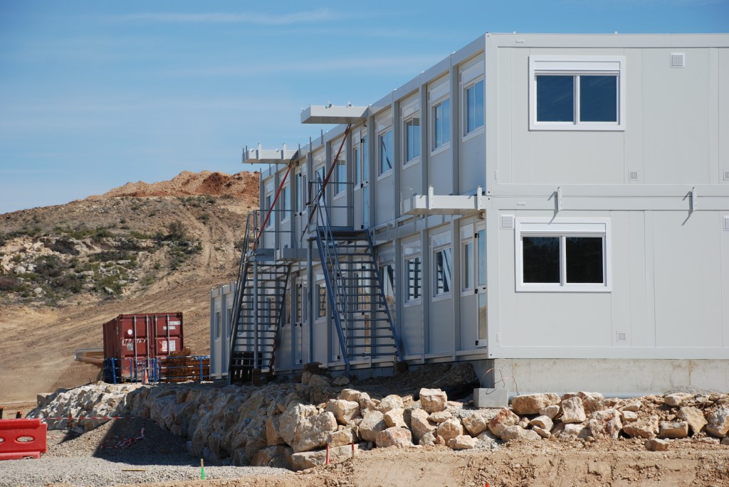 The new cabins for the workers are erected on site.  (Click to view larger version...)