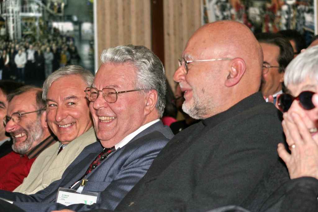 Looking back in laughter: The former project manager and now Head of CERN, Robert Aymar (center) (Click to view larger version...)