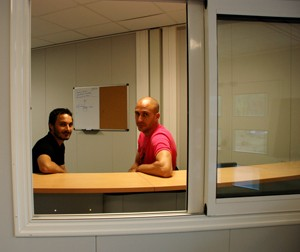 No more lost persons: the new receptionists Sebastian Chicca and Benoit Granel.