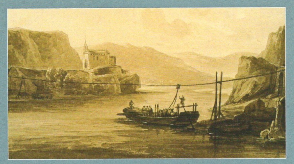 The cable ferry, a late 18th century lithograph by Jean-Baptiste Champin (© Mediatheque Ceccano Avignon) (Click to view larger version...)