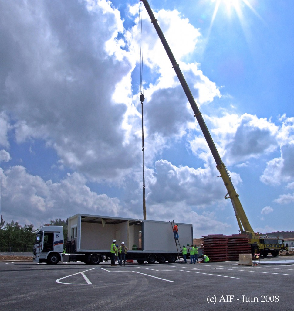 The first out of 144 modules that will by October form the new temporary offices on site has arrived. (Click to view larger version...)