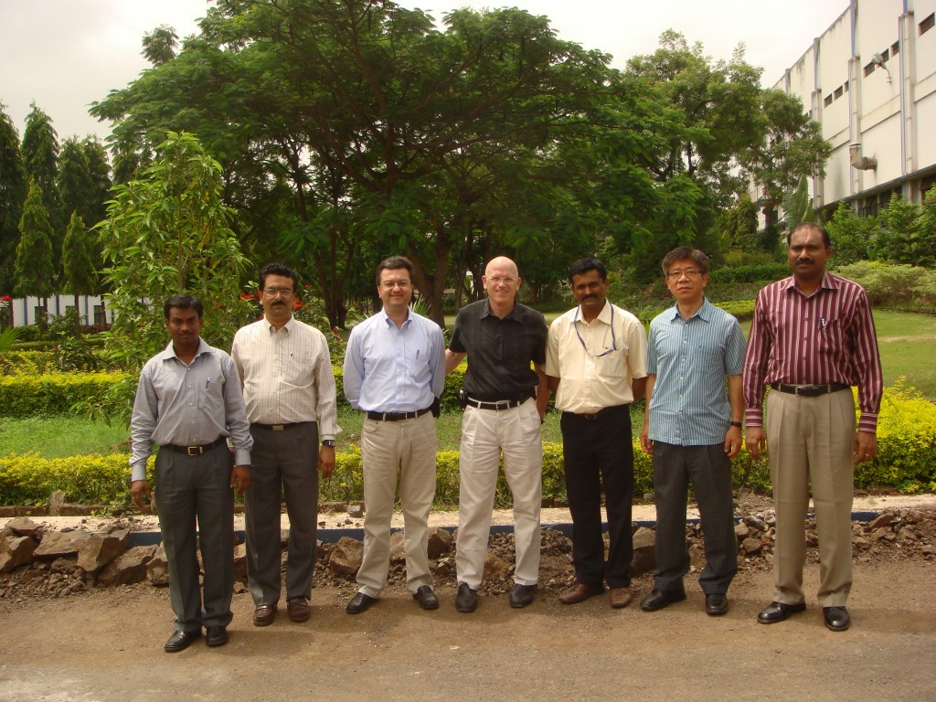 The Cooling Water System Group in front of the Alfa-Laval garden just adjacent to their fabrication facility: Dinesh Gupta, KP Chang, Giovanni Dell'Orco, Curd Warren with Ajith Kumar of ITER India and staff members of Alfa-Laval.