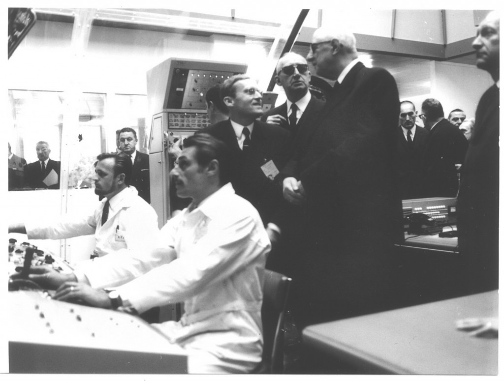 General de Gaulle in the control room, Cadarache, November 1967 (Click to view larger version...)