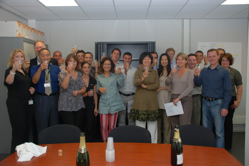 The ITER Finance & Procurement Divisions celebrate after completion.¶ (Click to view larger version...)