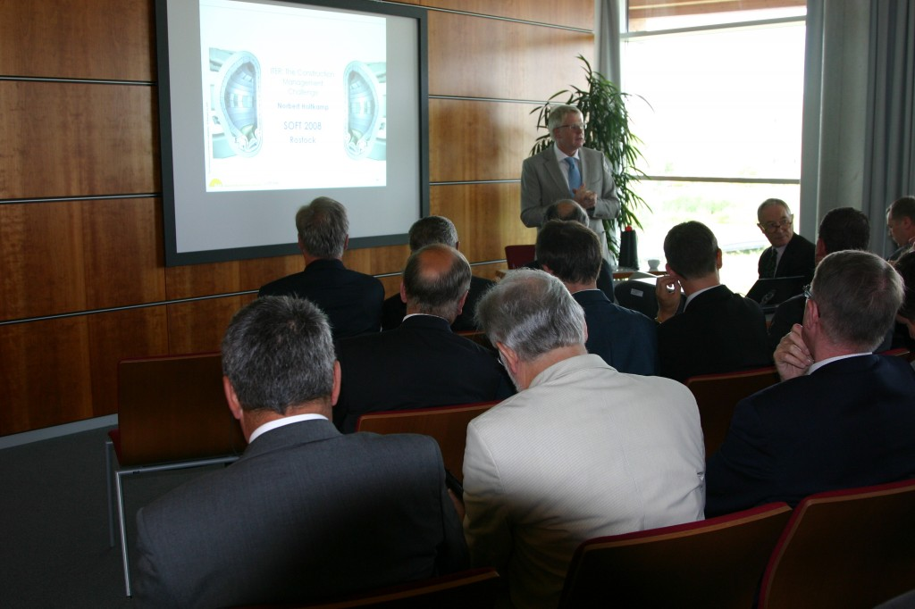 Norbert Holtkamp talking to industry at this year's SOFT conference in Rostock. Photo courtesy IPP.