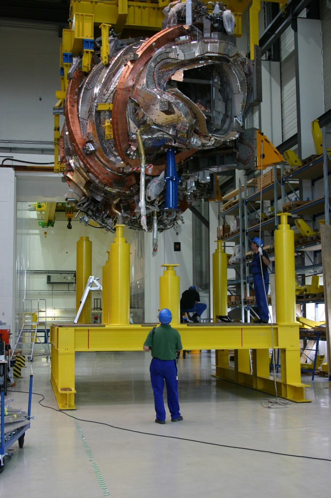One of Wendelstein's magnet modules being moved onto the assembly rig. (Click to view larger version...)