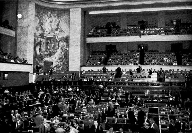 The opening session of the 1958 conference in Geneva.