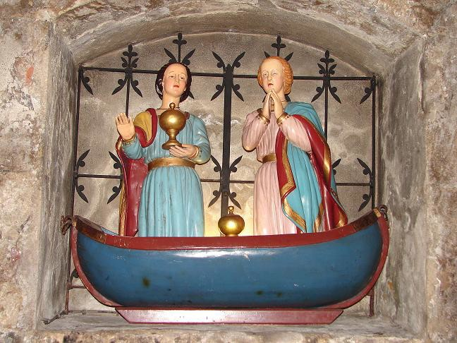 "This statue, in the medieval church at Les-Saintes-Maries-de-la-Mer, depicts the arrival of the ""Holy Women"" on the shores of Provence"