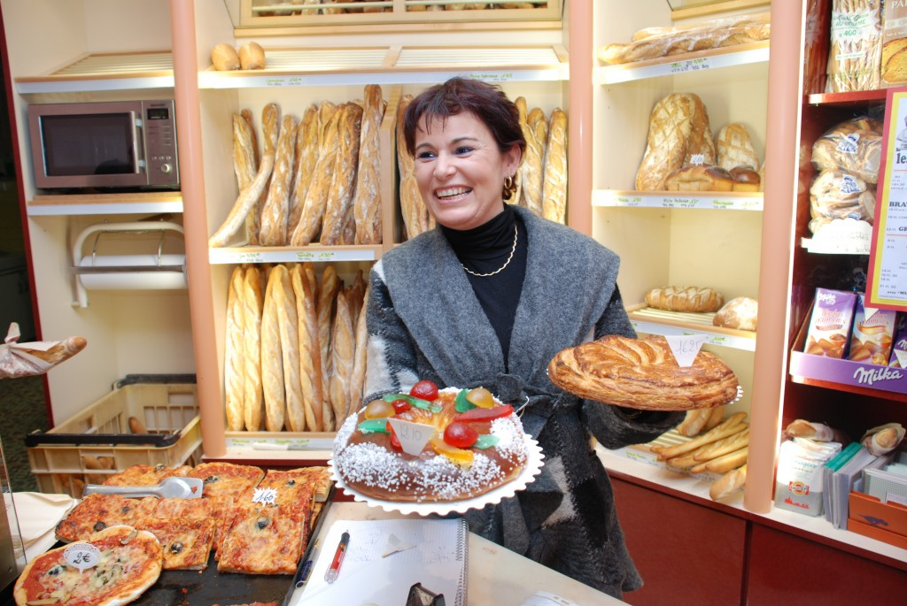 "Gâteau or galette? Nathalie, from the ""Les Delices"" bakery in Vinon, sells both."