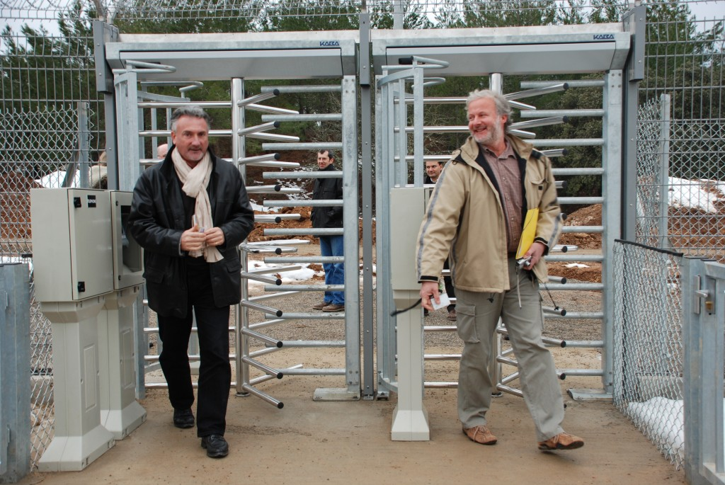 Alain LeBris, ITER safety officer and Bruno Coutourier, in charge for the installation of the Roto-Gate on behalf of Agence ITER France, were the first to walk through the new gate today. (Click to view larger version...)