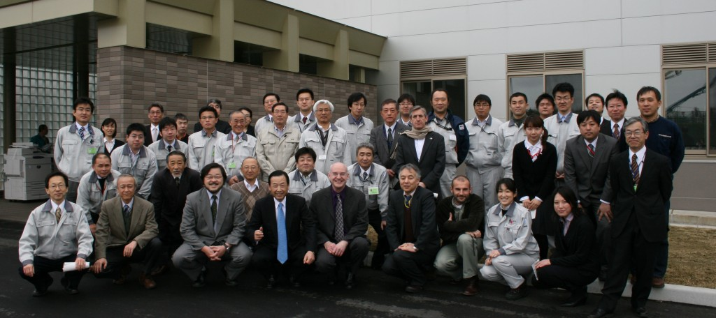 The first family photo: The JAEA and BA teams gather in front of the new building in Rokkasho.  (Click to view larger version...)
