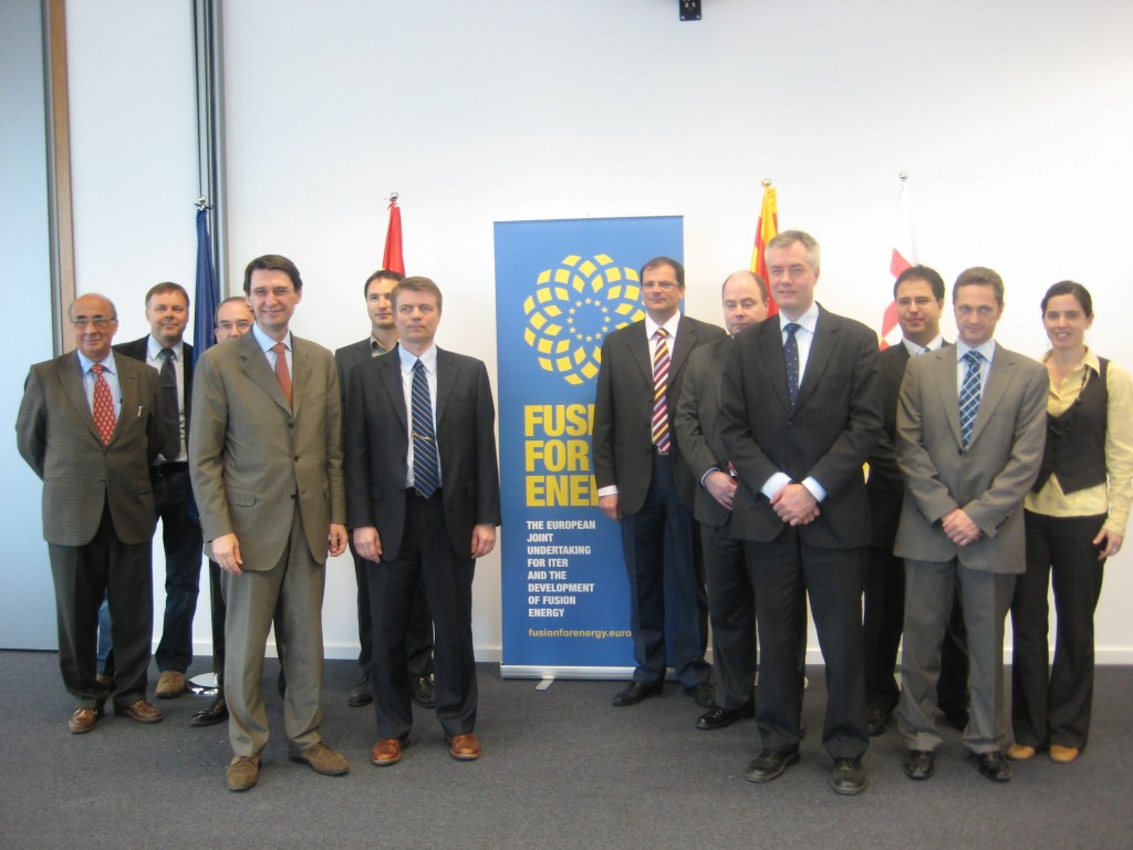 "Didier Gambier, Director of the European Domestic Agency (4th from left), and his team from the European agency ""Fusion for Energy"" after signing the contract for 62 tonnes of copper strand with the Finnish company Luvata. Photo courtesy of F4E. (Click to view larger version...)"