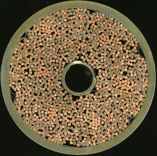 Cross section of ITER toroidal field conductor. Photo courtesy of ENEA. (Click to view larger version...)