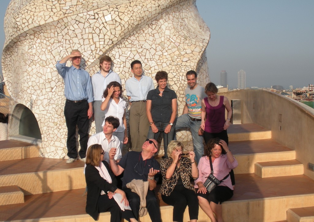 The Communication officers from the ITER Organization and the Domestic Agencies on the roof of Gaudi's Casa Mila in Barcelona after the meeting. (Click to view larger version...)