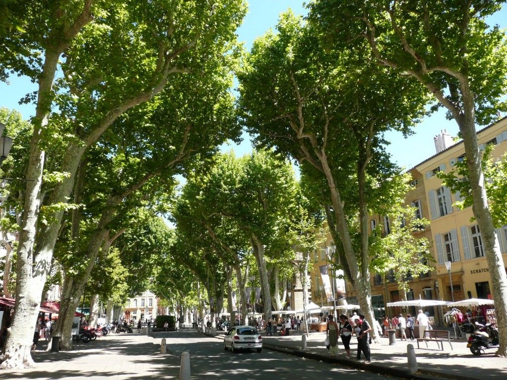 The Cours Mirabeau in Aix-en-Provence (140,000 inhabitants), a town of fountains, theatres and aristocratic townhouses.