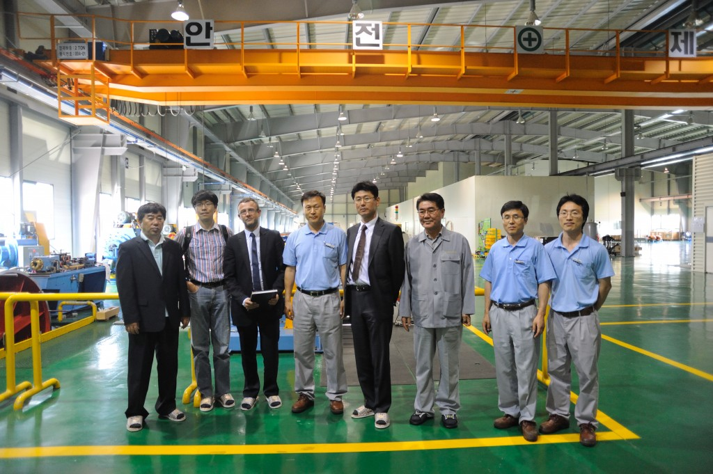 Visiting the strand production facility in Korea: representatives from the Korean Domestic Agency, the ITER Organization and Kiswire Advanced Technology. (Click to view larger version...)