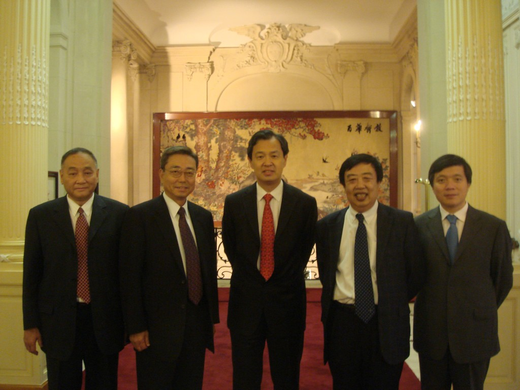 The attendees to the Paris meeting: ITER Deputy Director General Shaoqi Wang, Kaname Ikeda, Ambassador Kong Quan, Zhang Zhiqin, the Minister-Counsellor for Science & Technology and Zhu Liying, Counsellor for Bilateral Relations.