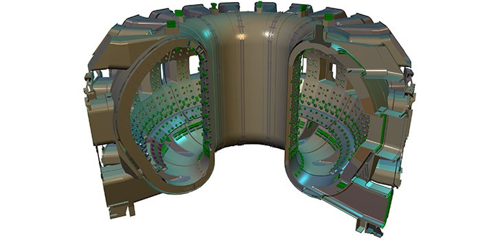 ITER's vacuum vessel will be twice as large and sixteen times as heavy as that of any previous tokamak, with an internal diametre of 6 metres. It will measure a little over 19 metres across by 11 metres high, and weigh in excess of 5,000 tonnes. (Click to view larger version...)