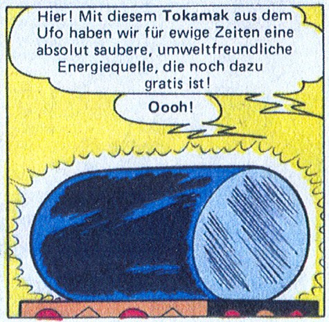 "An improbable encounter between Mickey Mouse and a tokamak in ""The Kingdom of Stars,"" a 1997 Disney publication in German. (Click to view larger version...)"