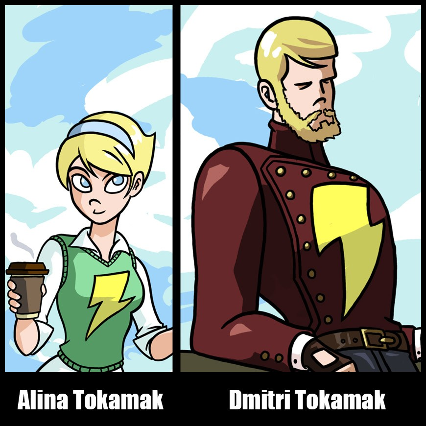 "The ""Tokamak Twins"" as they appear in the Dresden Codak webcomics series. (Click to view larger version...)"