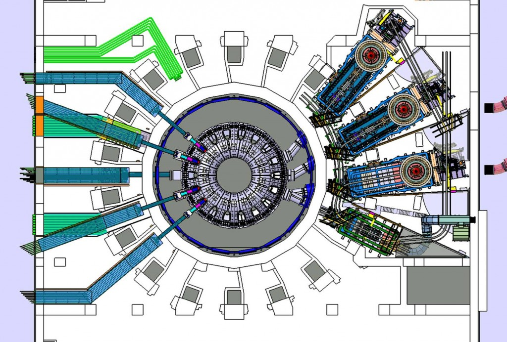 The drawing shows the position and the size of the powerful neutral beams (top right) that form part of ITER's heating system. Although there are only two heating neutral beams foreseen in ITER at the moment, the third beamline pictured is a possible upgrade option. Below the heating neutral beams, in green, the diagnostic neutral beam is pictured. (Click to view larger version...)