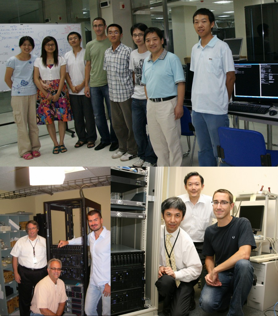 Top: Song Yuntao (Chinese Working Group IT) with Bjoern Wilhelm (ITER) and a team of Chinese IT specialists.  Left: Benjamin Kelmers, Daniel Ciarlette (US ITER) and Jürgen Dirnberger (ITER). Right: Bjoern Wilhelm with Koichi Sato, and, standing in the middle—ITER Japan leader Ryuji Yoshino.