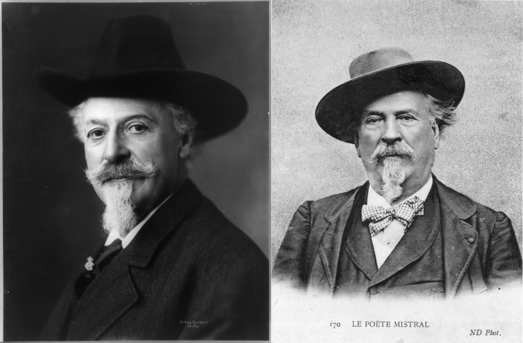 Same longish hair, same moustache and goatee, Old West hero Buffalo Bill (left) and Nobel Prize laureate Frédéric Mistral (right) were almost look-alikes. (Click to view larger version...)