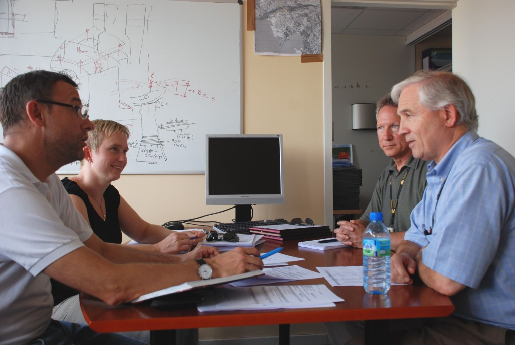 PA Project Teams have been established for each Procurement Arrangement. Pictured here are the ITER Organization members of the Conductor PA Project Team in action: (from left) Arnaud Devred, Section Leader for ITER's Superconducting Systems; Ina Backbier, Senior Project Coordinator; Mark Gardner, Magnets Quality Assurance Responsible Officer; and Pat Vaughn, Planning & Scheduling Officer.