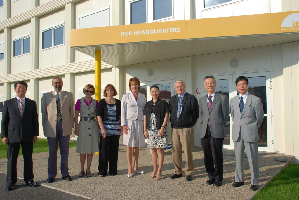 The FAB Members posing in front of the ITER Headquarters (from left): Hyunk Jong Kim, C.M. Sane, Marina Zbaratskaya (translator), Alice C. Peterson, Tamara Vorobieva, Sun Xiaoyun, Francois Colling, Hiroshi Nagano and Katsumi Nakajina (Chairman secretary).