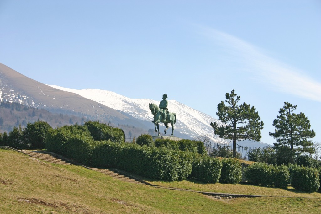 "Napoléon's statue in the ""Prairie de la Rencontre"", half-way between Gap and Grenoble. (Click to view larger version...)"