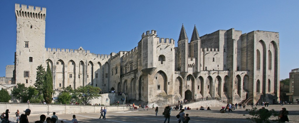 "The Palais des Papes in Avignon was erected between 1335 and 1352. It is the largest ""gothic palace"" in the world. (Click to view larger version...)"